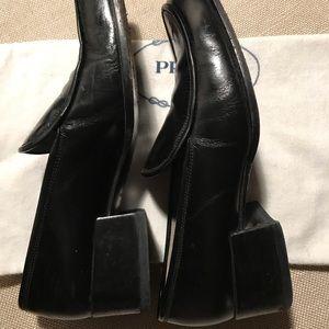 Black Leather PRADA penny loafers Sz 36